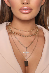 She's A Boss Layered Necklace - Gold Angle 1