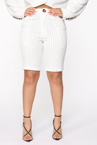 Unfinished Business Pinstripe Shorts - White/combo Angle 1