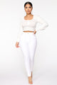 Up Front Balloon Sleeve Top - White