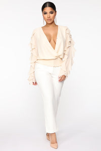 You Report To Me Ruffle Blouse - Cream Angle 2