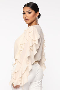 You Report To Me Ruffle Blouse - Cream Angle 3