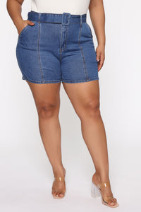 Square Up Belted Denim Shorts - Medium Blue Wash Angle 5