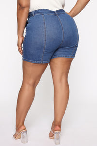 Square Up Belted Denim Shorts - Medium Blue Wash Angle 7