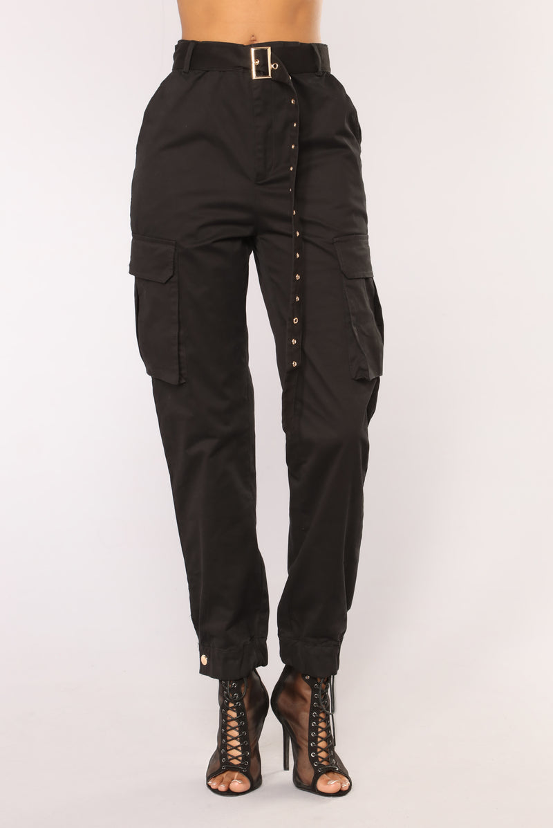 Nadia Belted Joggers - Black in 2020 | Fashion, Colourful ...  |Black Cargo Pants For Girls