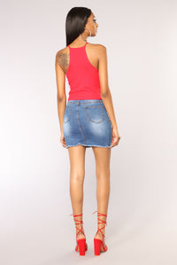 Demi Racer Back Crop Cami II Top - Red