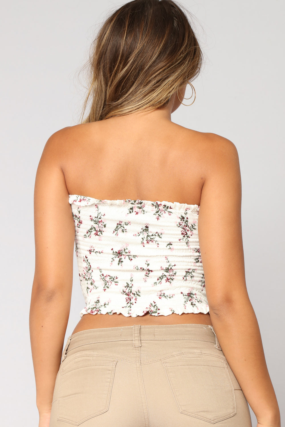Eleanor Floral Smock Tube Top - White