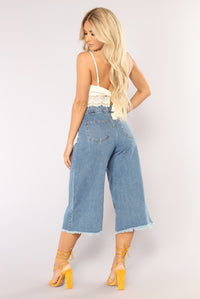 Uptown Girl Denim Gauchos - Medium Blue Wash