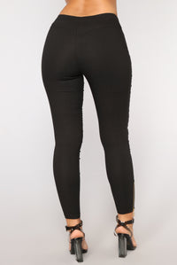 Yasmeen Moto Leggings - Black