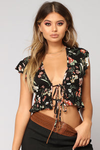 Talk Flowers To Me Floral Top - Black