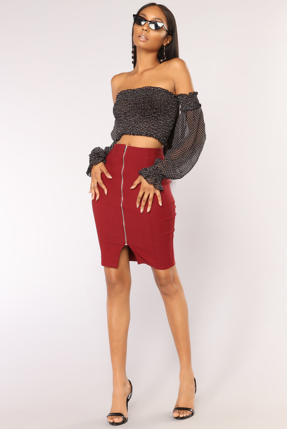 Keep It Zipped Skirt - Wine