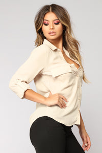 Pocket Full Of Sunshine Long Sleeve Top - Sand
