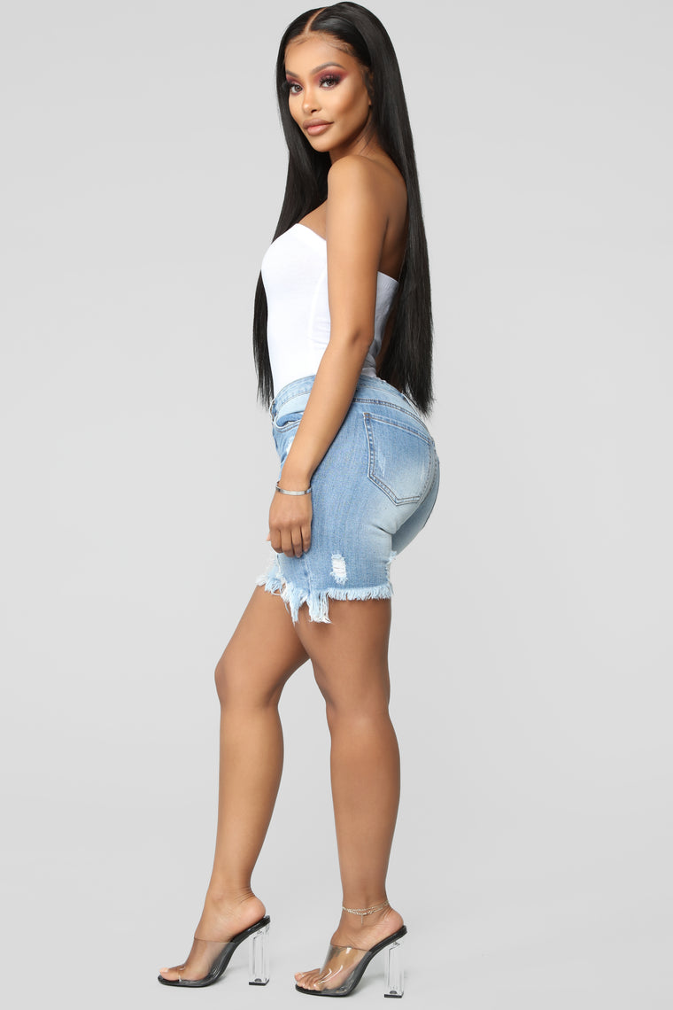 Torn Up About It Bermuda Shorts - Medium Blue Wash