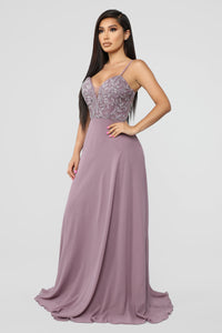 Glamorous Night Embellished Gown - Lilac