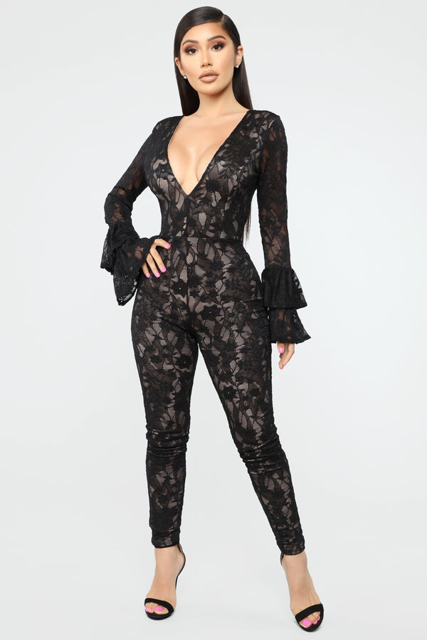 28825e8da68 Aim For Fame Lace jumpsuit - Black