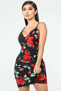 Floral Madness Mini Dress - Black