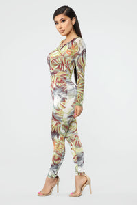 Tropical Babe Jumpsuit - White/Combo