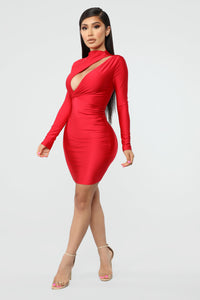 Only Here Tonight Cut Out Dress - Red