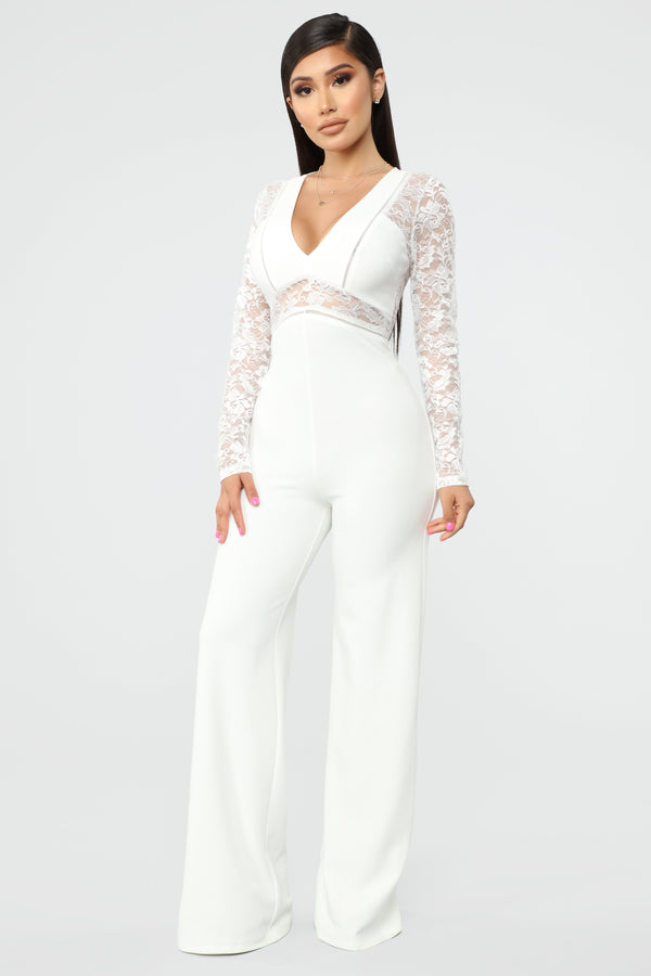 ead8a0526b2 Hanna Lace Cut Out Jumpsuit - Ivory