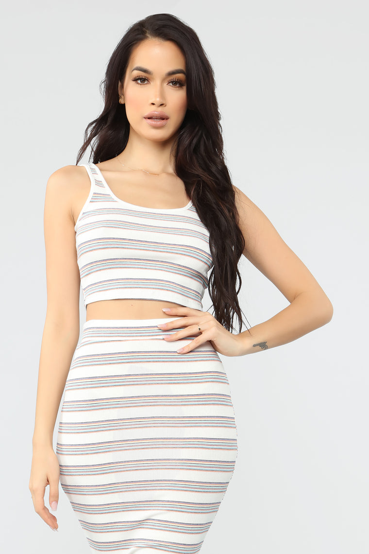 Movie Dates Stripe Skirt Set - White/Orange