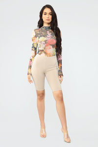 Imagine This Floral Bodysuit - Black/combo