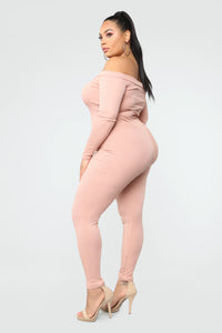Fool In Love Off The Shoulder Jumpsuit - Blush