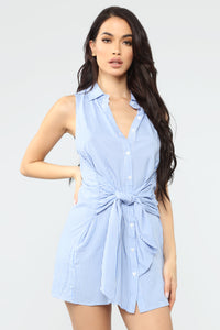 All For It Striped Dress - Blue/Combo