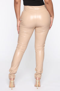 Your Daily Dose Of Faux Leather Pants - Taupe Angle 3