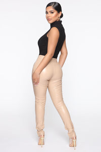 Your Daily Dose Of Faux Leather Pants - Taupe Angle 4