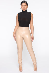 Your Daily Dose Of Faux Leather Pants - Taupe Angle 1