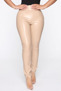 Your Daily Dose Of Faux Leather Pants - Taupe Angle 2