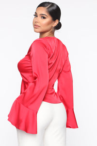 Work It O Blouse - Red Angle 3