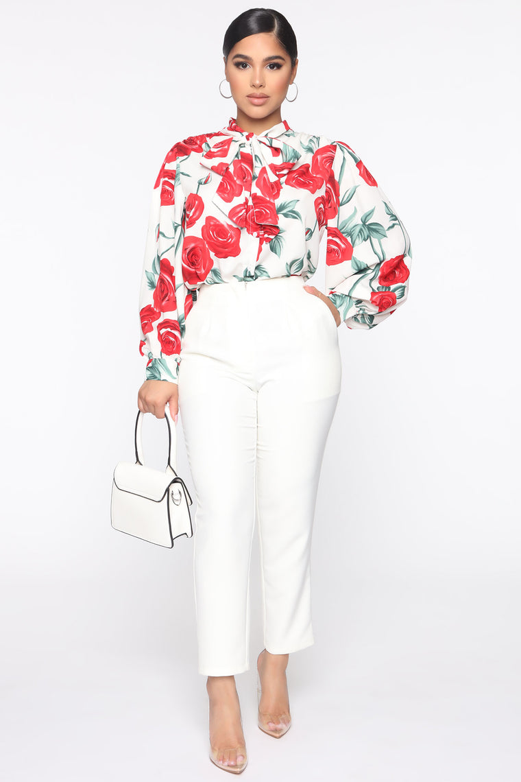 Rose Print Long Sleeve Top - White/combo