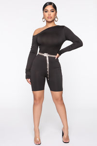Missing Your Smile Romper - Black Angle 1
