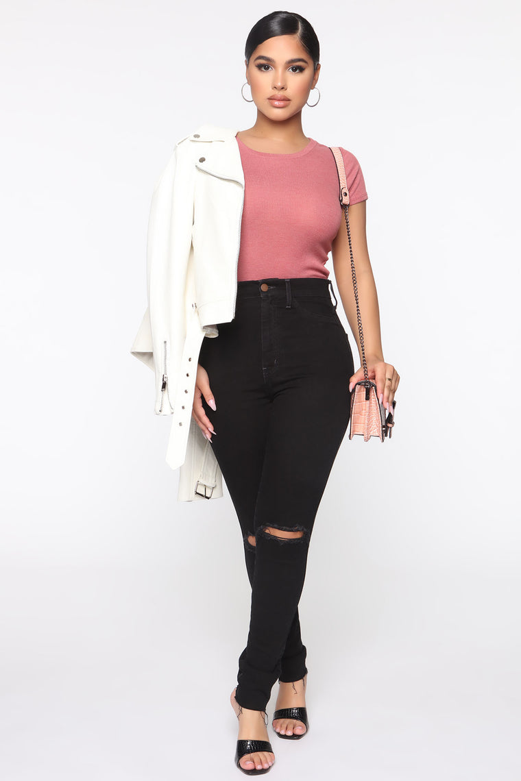 Time For A Change Crop Top - Smoky Rose