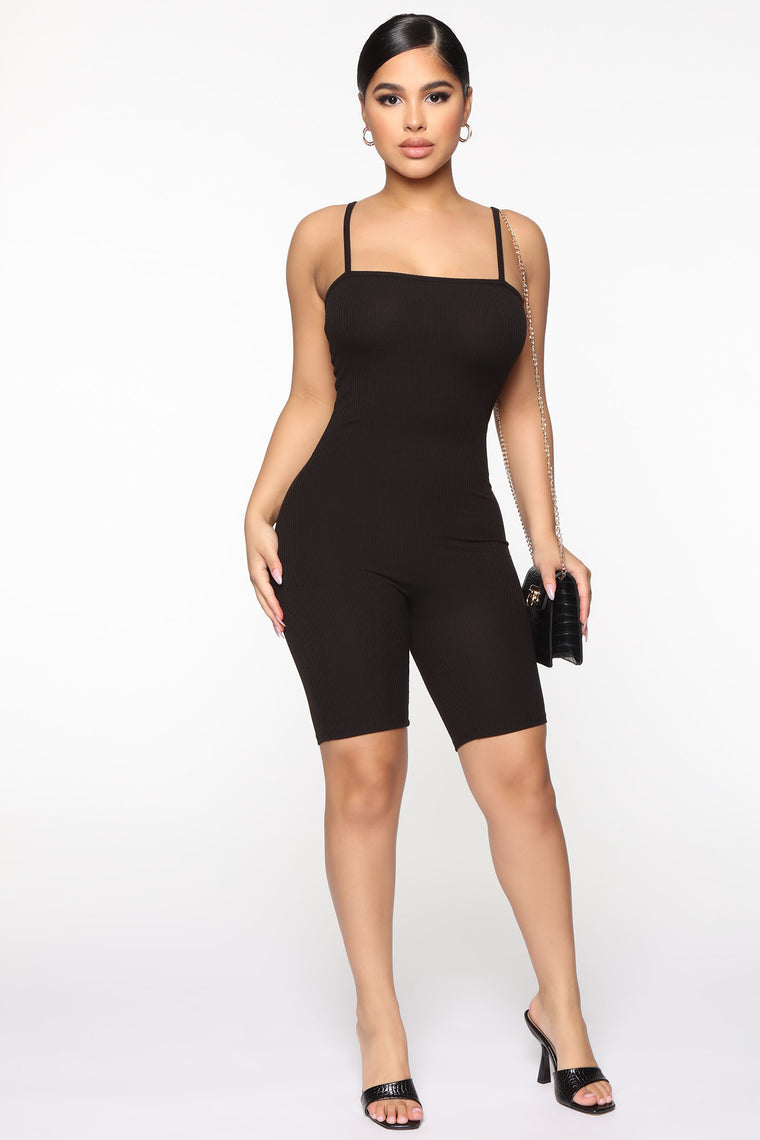 Don't Think About It Romper - Black