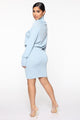 Keep My Secrets Sweater Mini Dress - Blue
