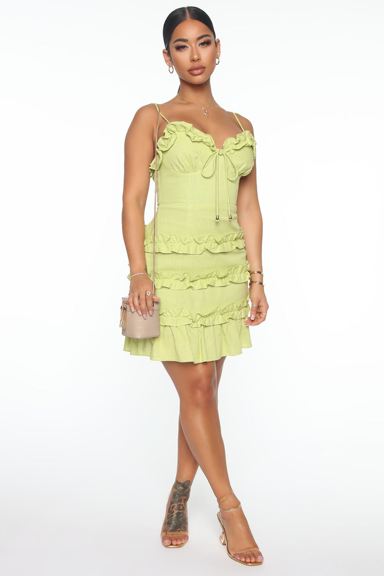 Attracted To You Mini Dress - Lime