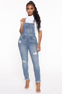 Don't Mess With Me Distressed Overalls - Medium Blue Wash Angle 1