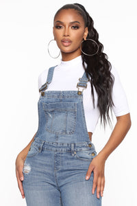 Don't Mess With Me Distressed Overalls - Medium Blue Wash Angle 2