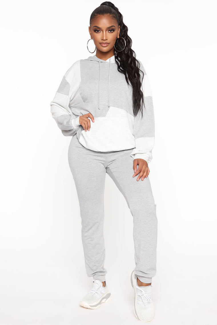 Never Too Comfortable 2 Piece Lounge Set - Grey/combo