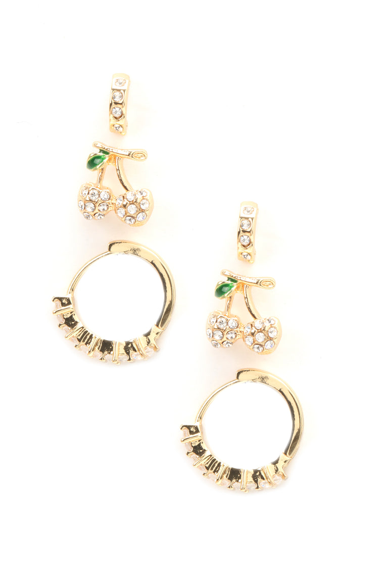 Cherry Picking Earring Set - Gold