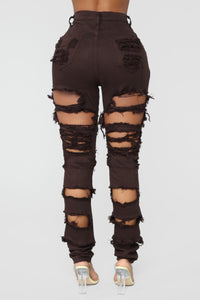 Things Are Looking Up Distressed Jeans - Brown
