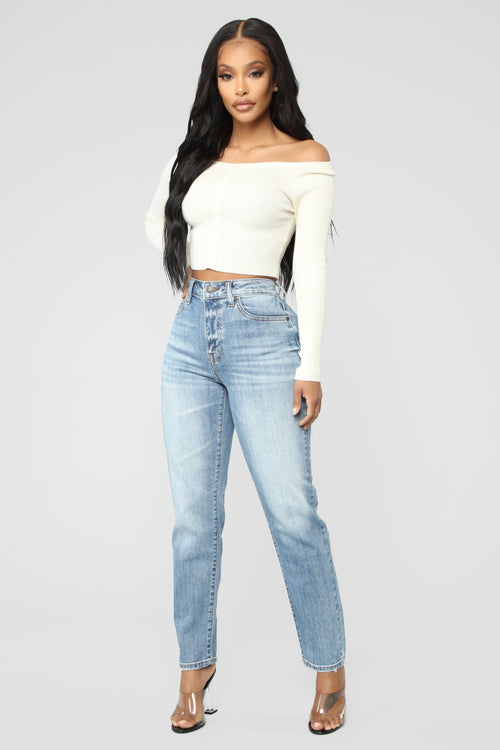 Slim Thick Straight Jeans - Medium Blue Wash