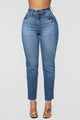 Burning Love High Rise Mom Jeans - Medium Blue Wash