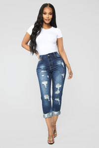Standing Out Distressed Boyfriend Jeans - Dark Denim