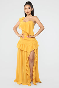 Commotion Of The Ocean Ruffle Dress - Mustard