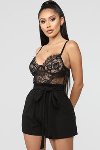 Not So Complicated Lace Romper - Black/Black