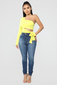 Heart Holder One Shoulder Top - Yellow Angle 2