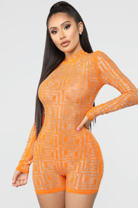 You're Amazing To Me Studded Romper - Orange