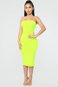 Rhianna Tube Dress - Neon Lime